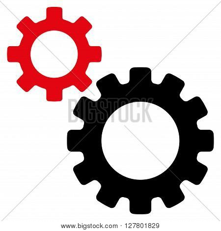 Transmission Gears vector icon. Style is bicolor flat icon symbol, intensive red and black colors, white background.
