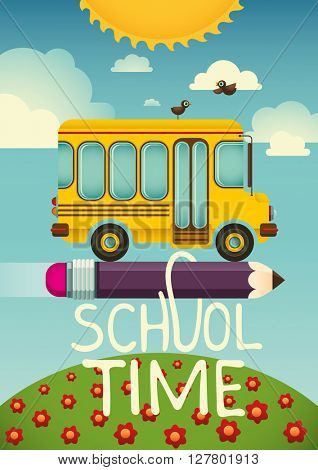 Comic illustration with school bus. Vector illustration.
