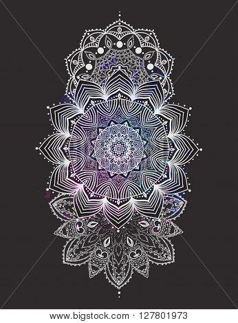 Ornament invitation card with mandala. Geometric circle element made in vector. Mandala for decoration holiday cards, background and sites. Kaleidoscope, medallion, yoga, India, arabic  flash tattoos