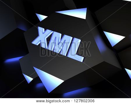 XML - Extensible Markup Language - computer generated image (3D render)