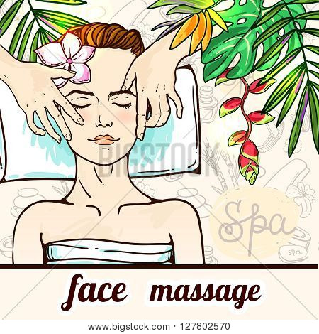Beautiful hand drawn vector illustration spa salon. Spa woman waiting spa massage her face.