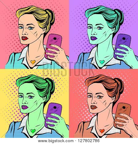Pretty young girl maks a selfie. Pop art style. Pop art selfie poster.
