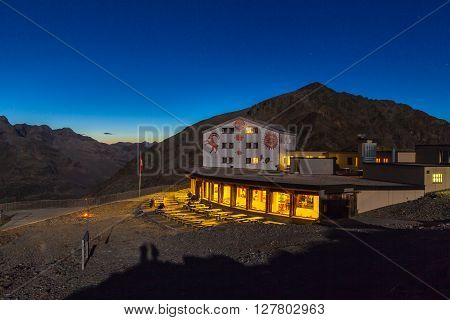 Night view of mountain house at Diavolezza (Berghaus) near the Bernina Massive and Morteratsch Glacier Canton of Grisons Switzerland.
