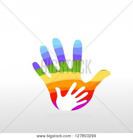 hand rainbow colorful illustration background