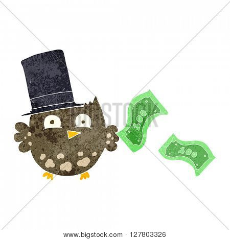 freehand retro cartoon wealthy little owl with top hat