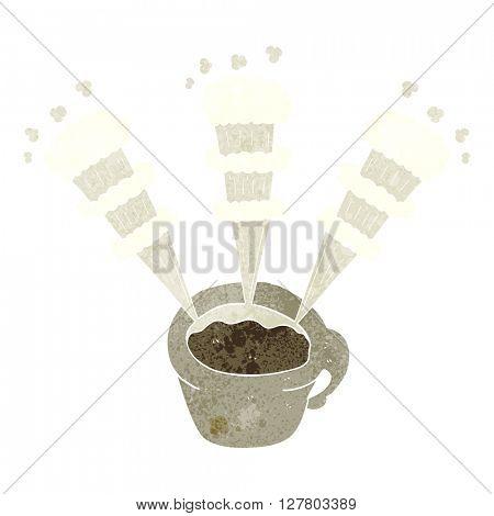 freehand retro cartoon hot coffee mug