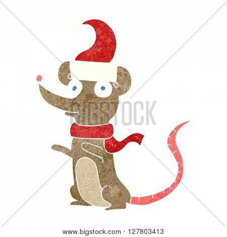 freehand retro cartoon mouse wearing christmas hat