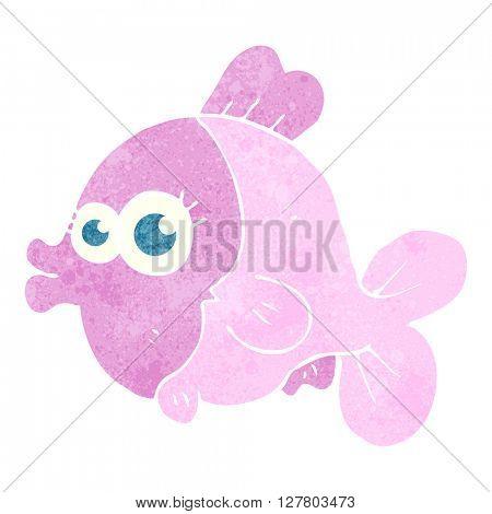 funny freehand retro cartoon fish with big pretty eyes