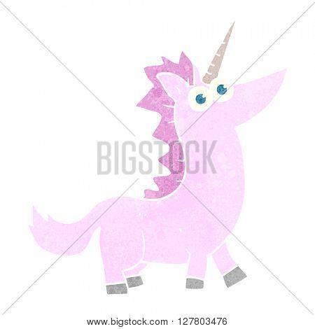 freehand retro cartoon unicorn