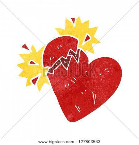 freehand retro cartoon broken heart