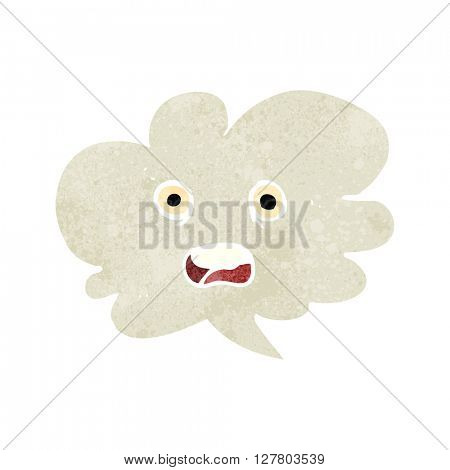 freehand retro cartoon shocked speech bubble