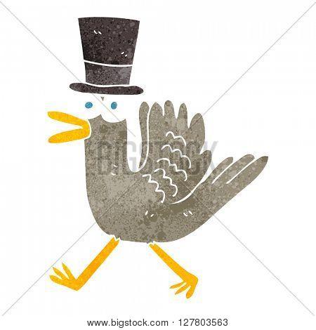 freehand retro cartoon duck in top hat