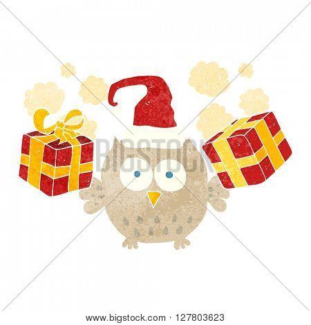 freehand retro cartoon christmas owl