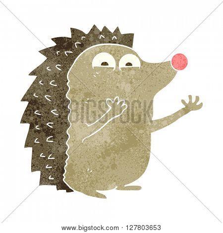 freehand retro cartoon cute hedgehog