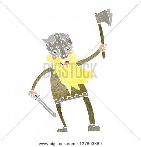 freehand retro cartoon viking warrior