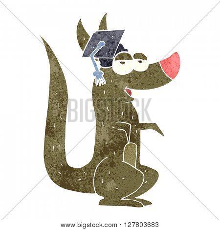 freehand retro cartoon kangaroo with graduation cap