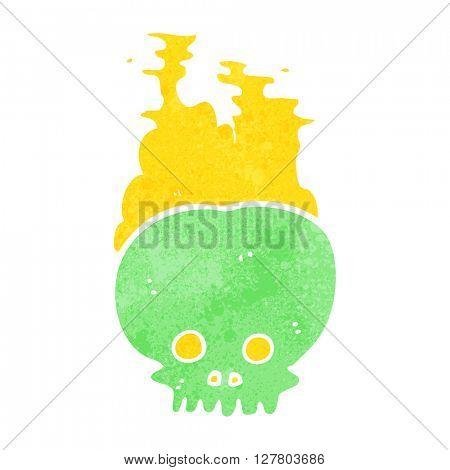 freehand retro cartoon steaming skull