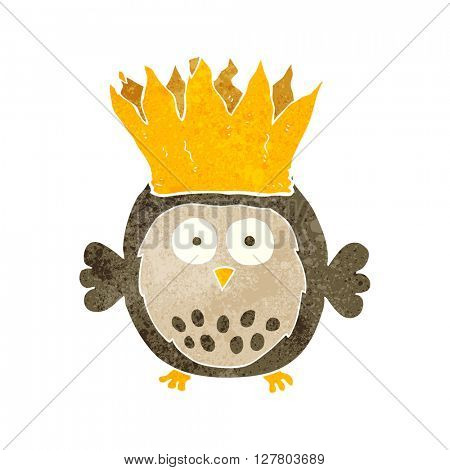 freehand retro cartoon owl wearing paper crown christmas hat