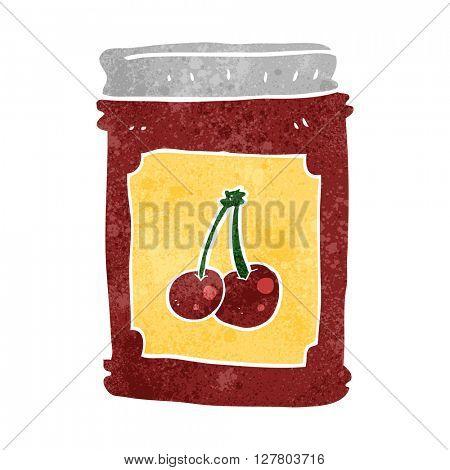 freehand retro cartoon cherry jam jar