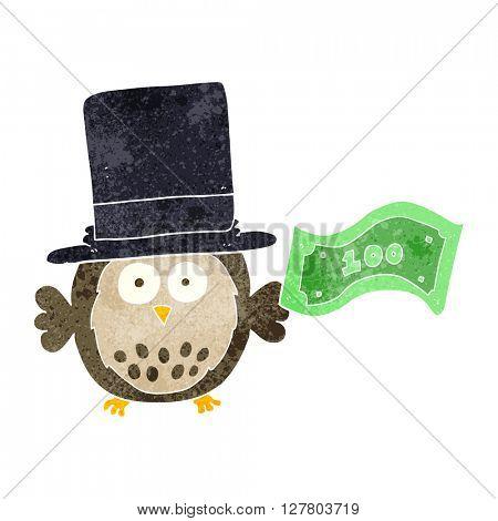 freehand retro cartoon rich owl
