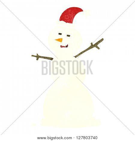freehand retro cartoon unhappy snowman
