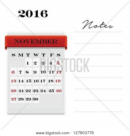 Vector calendar November 2016 with a place for notes. Weeks start on Sunday