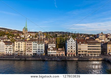 Aerial View Of Zurich Old Town And Limmat River At Dusk