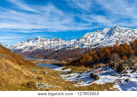 Stunning view of Sils lake and the swiss alps in Upper Engadine including Piz Corvatsch with golden trees in autumn and aerial view of the village Sils-Maria Canton of Grisons Switzerland.