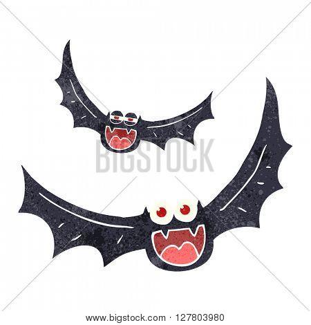 freehand retro cartoon halloween bats