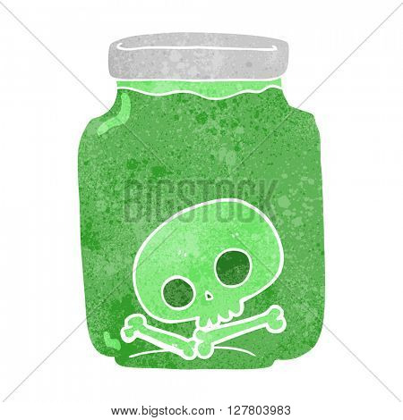 freehand retro cartoon jar with skull