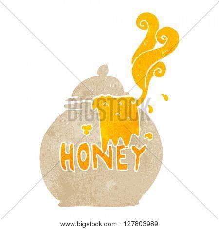 freehand retro cartoon honey pot