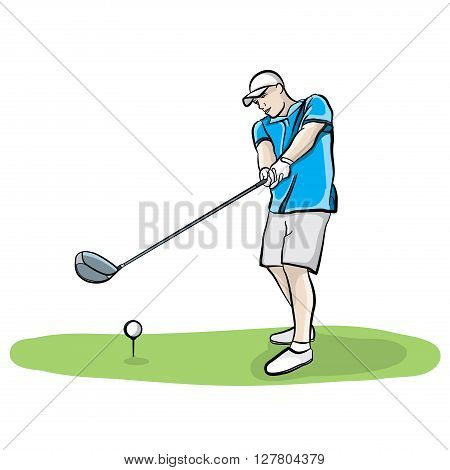An illustration of a golfer on the tee box hitting a golf ball with a driver club. Vector EPS 10 available.