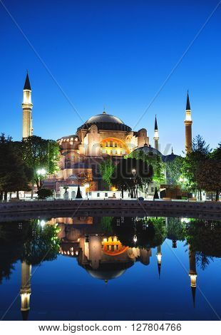 Hagia Sophia Mosque in the evening. Istanbul Turkey.