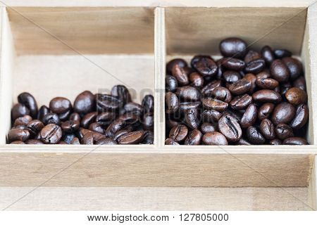 Roasted coffee beans in wooden box. Robusta Vietnam.