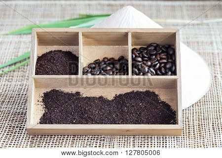 Roasted vietnamese Robusta coffee in wooden box