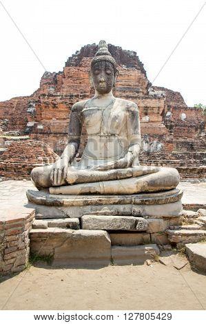 Buddha statues and old Brick in Ayutthaya historical park Ayutthaya Thailand