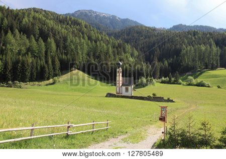 St Magdalena Village at the foot of the Dolomites Alps, a UNESCO world heritage, Italy
