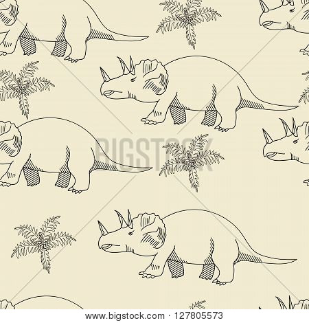 Triceratops seamless retro predator vector illustration. Black and white lines