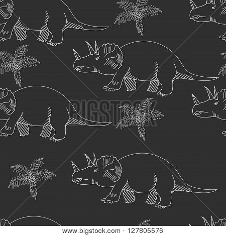 Triceratops seamless chalk predator vector illustration. Black and white lines