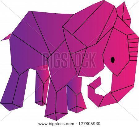 pink elephant-drawn geometric shapes on white fone