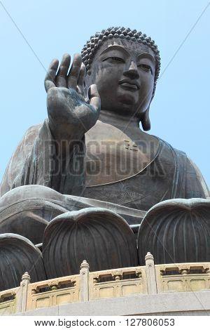 The Big Buddha, landmark on Lantau Island, Hong Kong