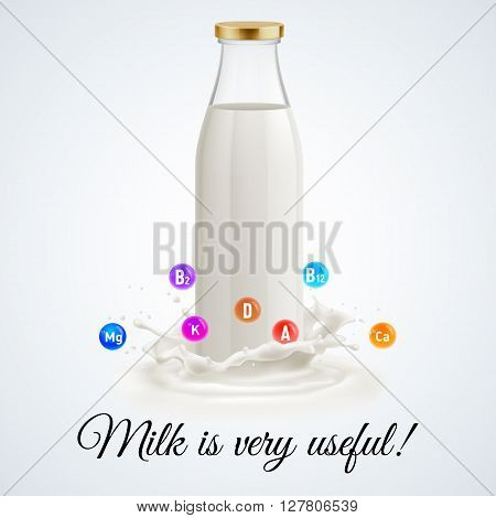 Isolated closed glass bottle of milk. Useful and vitamins