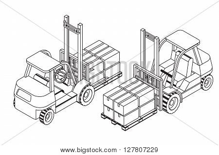 Forklift elevate the pallet with cardboard boxes - two isometric outline views vector illustration