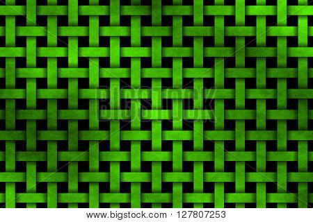 Illustration of a neon green woven pattern