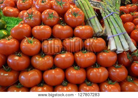 Tomatoes & Asparagus on French Market Stall