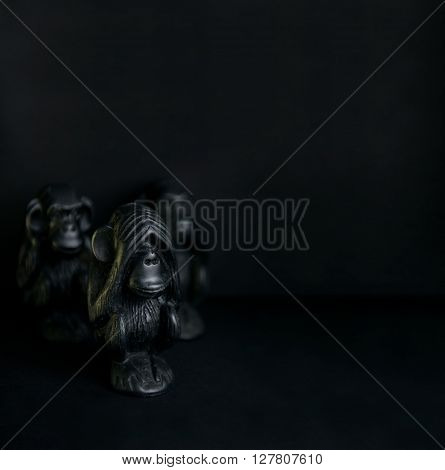Figurines with three monkeys, I do not see not hear not talking