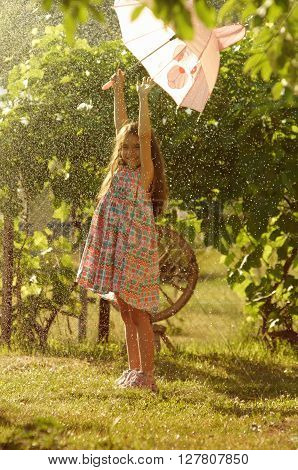 Little Girl Witn Pink Umbrella