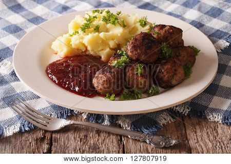 Swedish Cuisine: Meatballs, Lingonberry Sauce, Potato Closeup. Horizontal