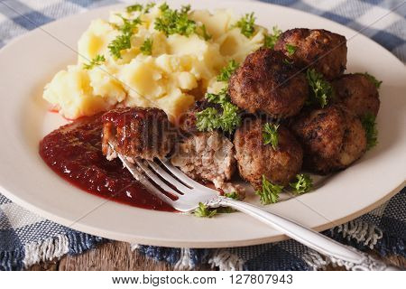 Swedish Meatballs Kottbullar With A Side Dish Mashed Potato Closeup. Horizontal