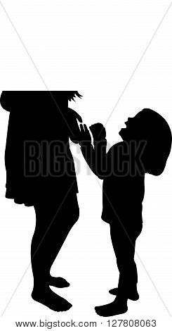 two sisters playing, black color silhouette vector